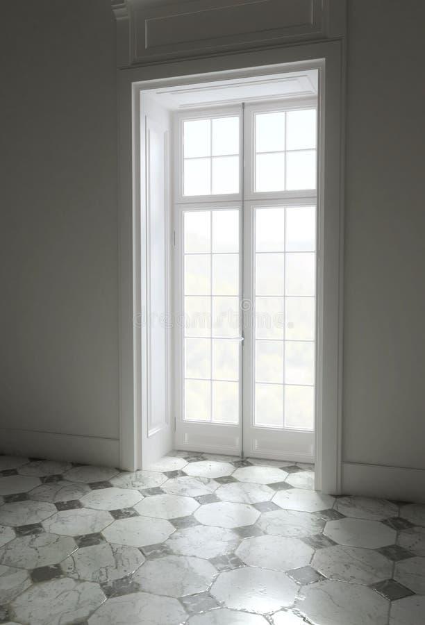 Lege heldere ruimte met reusachtige vensters het 3d teruggeven vector illustratie