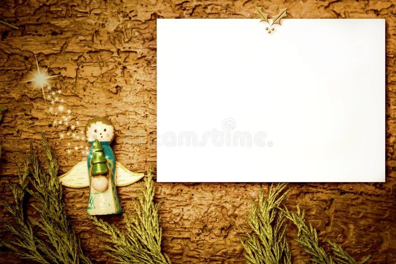 Lege het document van de Kerstmisengel kaart royalty-vrije stock afbeelding