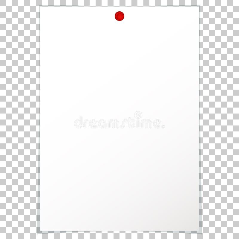 Lege het document van het album schone lege blad A4 rode punaise royalty-vrije illustratie