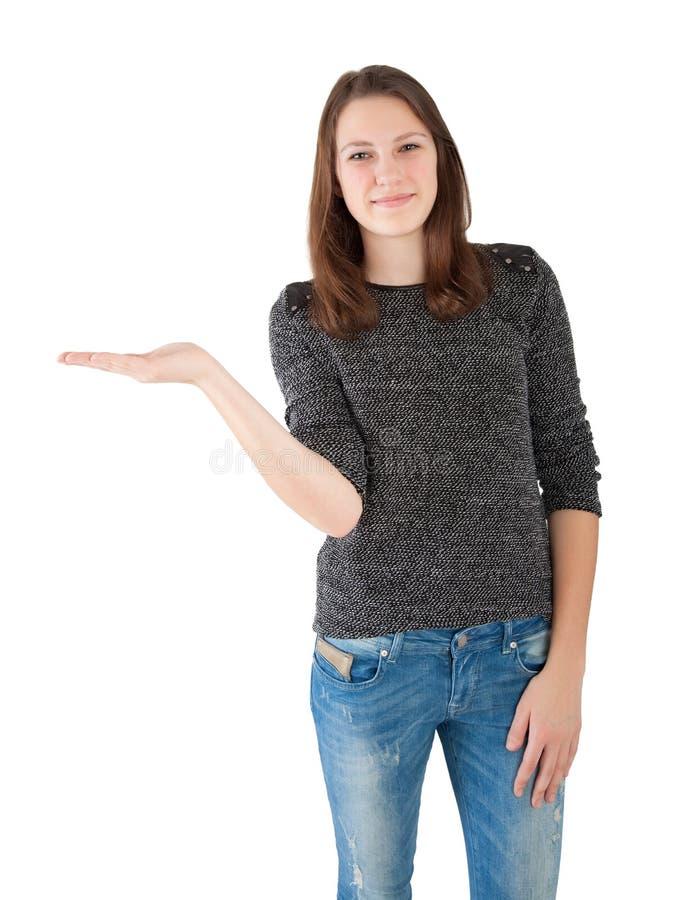 Lege het exemplaarruimte van de vrouwenholding stock fotografie