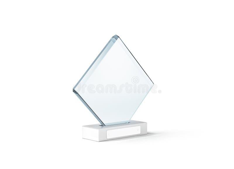 Lege het modeltribune van de glastrofee op duidelijke marmeren basis, royalty-vrije stock afbeelding