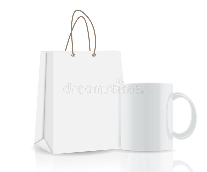 Lege het Winkelen Zak en kop voor reclame en stock illustratie