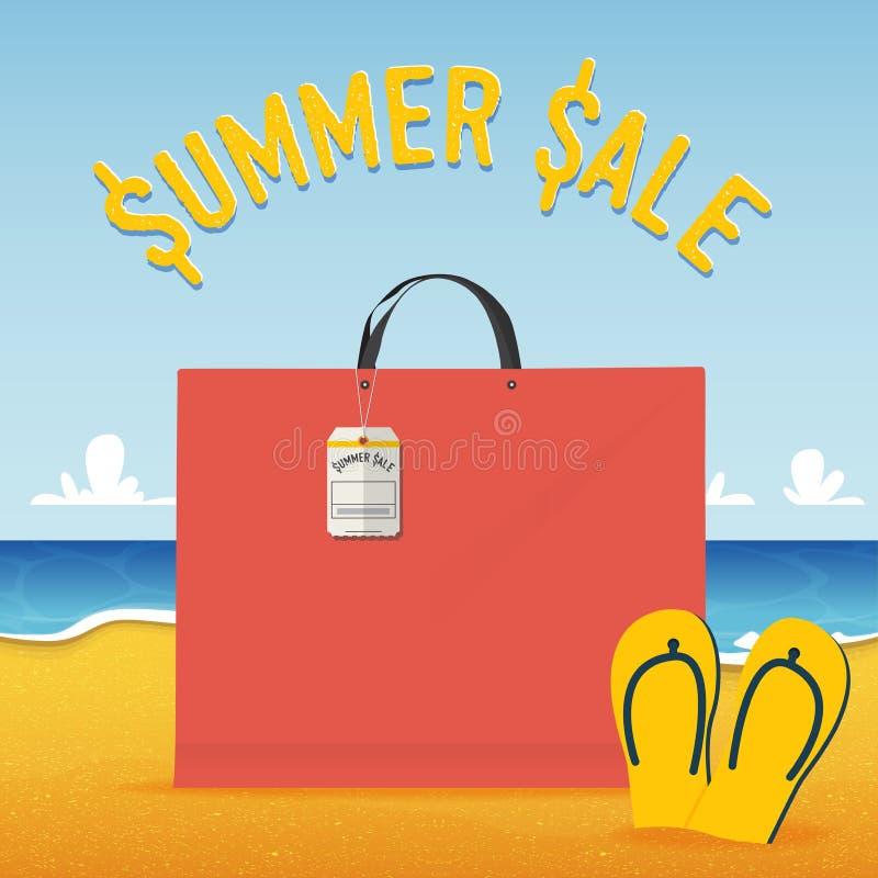 Lege het winkelen zak op strand en overzeese achtergrond in het concept van de de zomerverkoop Vector royalty-vrije illustratie
