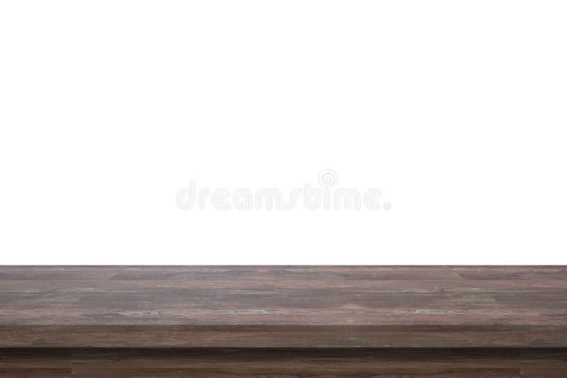 Lege hoogste donkere houten die lijst op witte die achtergrond wordt geïsoleerd voor vertoning of montering uw producten wordt ge royalty-vrije stock foto