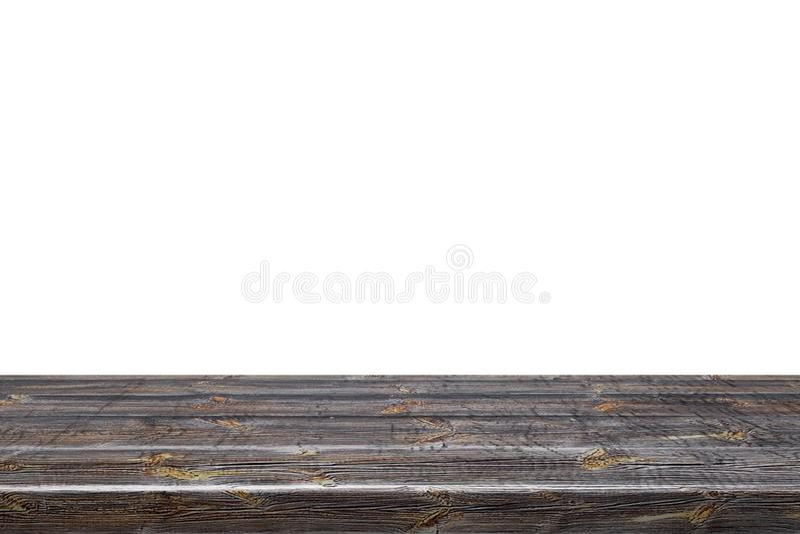Lege hoogste donkere houten die lijst op witte die achtergrond wordt geïsoleerd voor vertoning of montering uw producten wordt ge royalty-vrije stock foto's