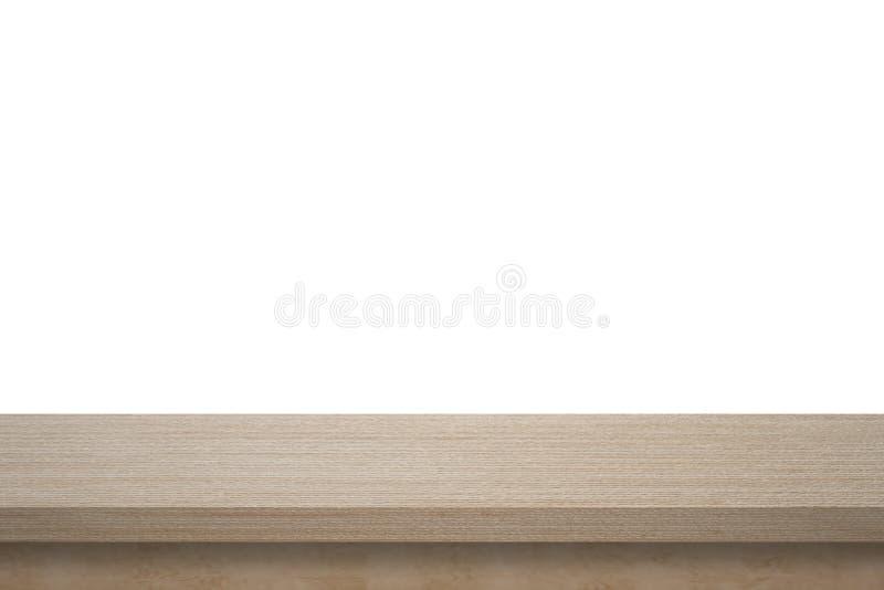 Lege hoogste houten die lijst op witte die achtergrond wordt geïsoleerd voor vertoning of montering uw producten wordt gebruikt royalty-vrije stock fotografie