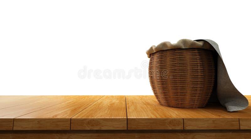 lege houten die lijstbovenkant op witte achtergrond met mand bovenop het wordt geïsoleerd royalty-vrije stock fotografie