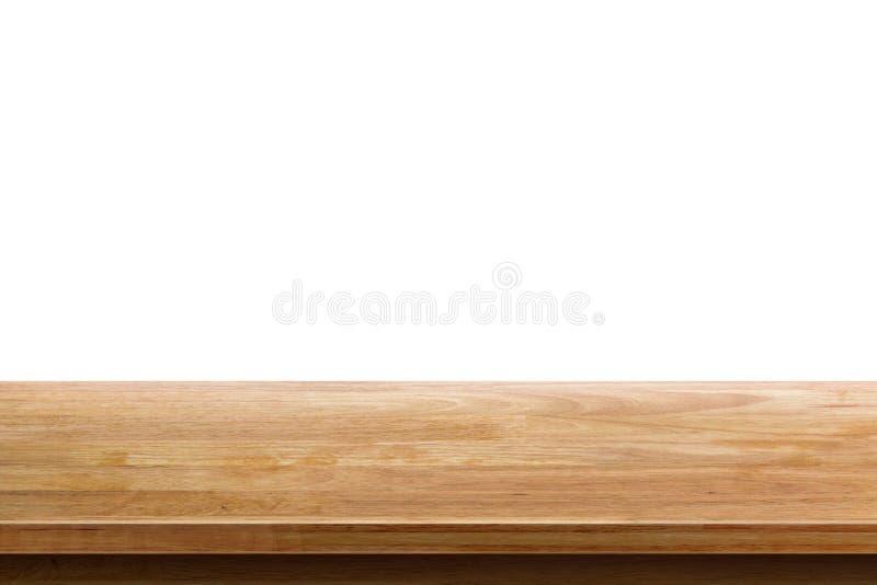 Lege houten die lijstbovenkant op witte achtergrond wordt geïsoleerd royalty-vrije stock foto's