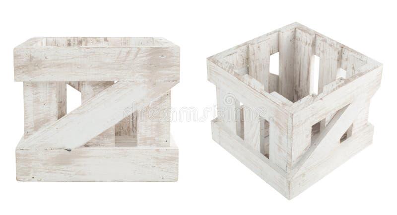 Lege houten doos in sjofel kuiken royalty-vrije stock afbeeldingen