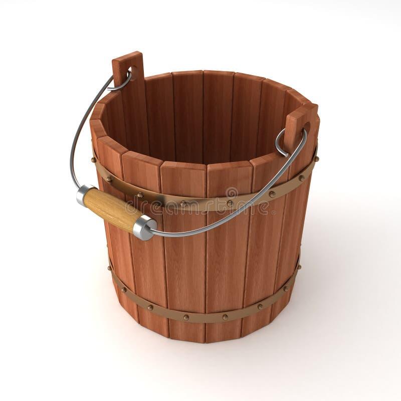 Lege houten emmer op witte achtergrond vector illustratie
