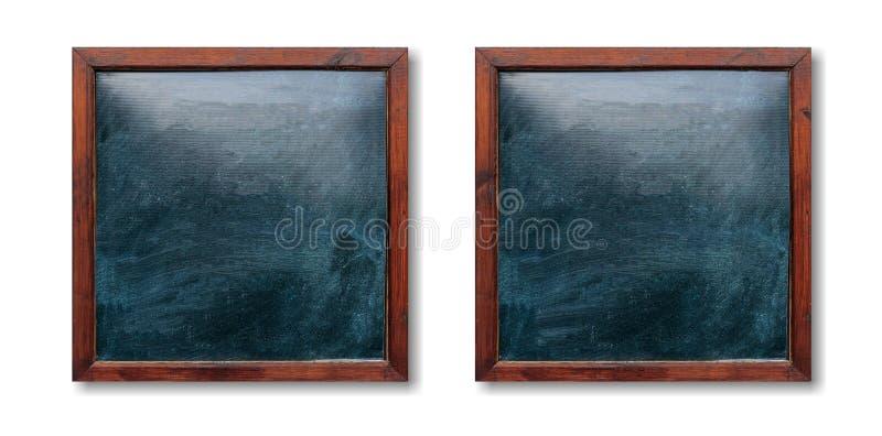 Lege houten kaders op de muur Borden binnen en witte achtergrond, ruimte voor tekst stock foto's