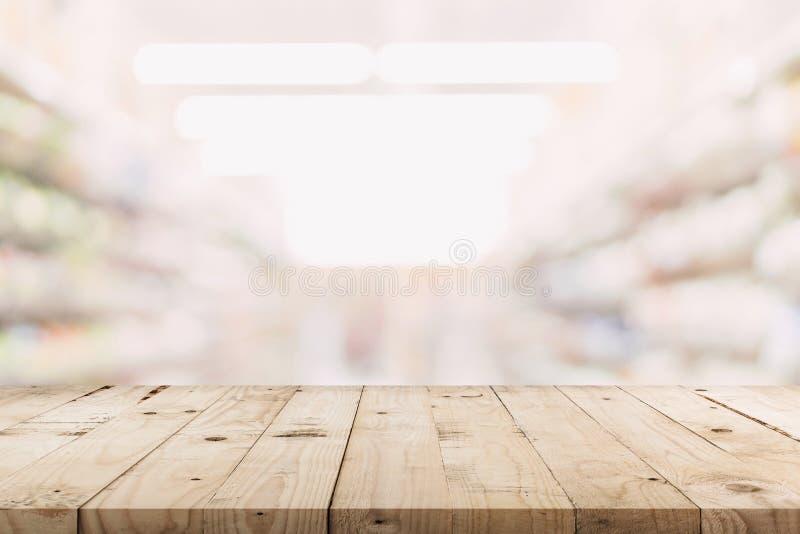 Lege houten lijst en Vage achtergrond - Opslag van de achtergrond van het winkelcomplexonduidelijke beeld bokeh met vertoningsmon stock fotografie