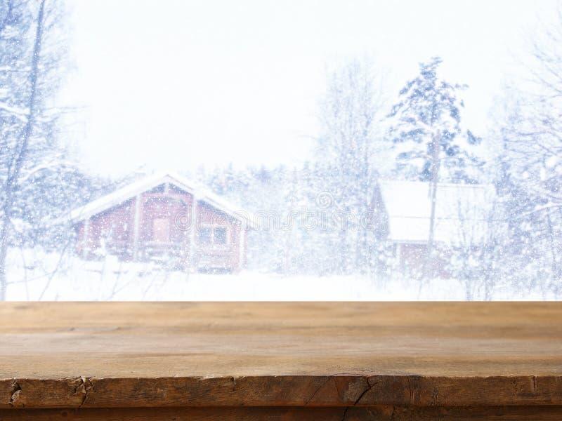 Lege houten lijst voor dromerig de winterlandschap royalty-vrije stock foto's