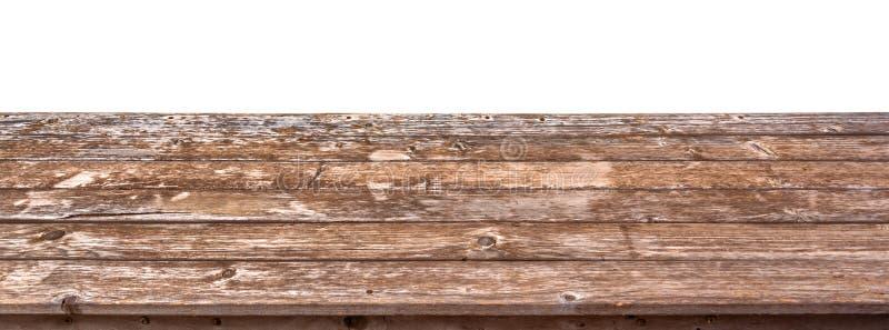 Lege houten lijstbovenkant die op witte achtergrond, klaar om voor vertoning van uw producten te gebruiken wordt geïsoleerd royalty-vrije stock fotografie