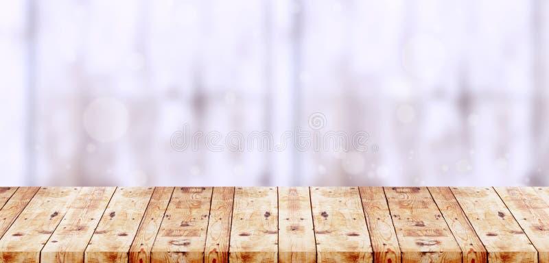 Lege houten lijstbovenkant op witte bokeh abstracte achtergrond foto royalty-vrije stock afbeeldingen