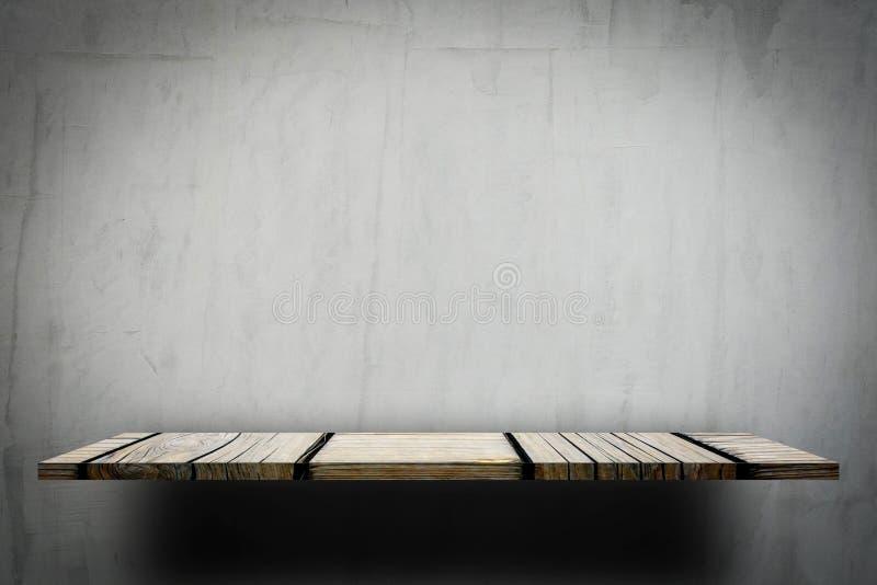 Bureau Plank Aan Muur.Lege Houten Plank Op Grijze Muur Stock Afbeelding