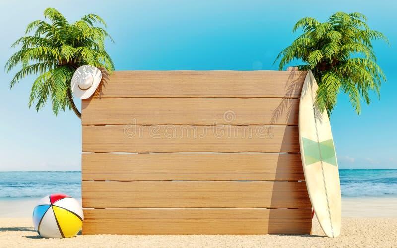 Lege houten raad op het strand, de zomertijd, reis, bestemming, achtergrond vector illustratie
