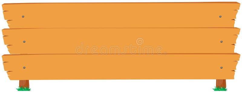 Lege houten raad op witte achtergrond vector illustratie