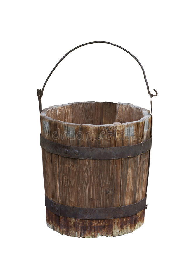 Lege houten wateremmer stock afbeeldingen