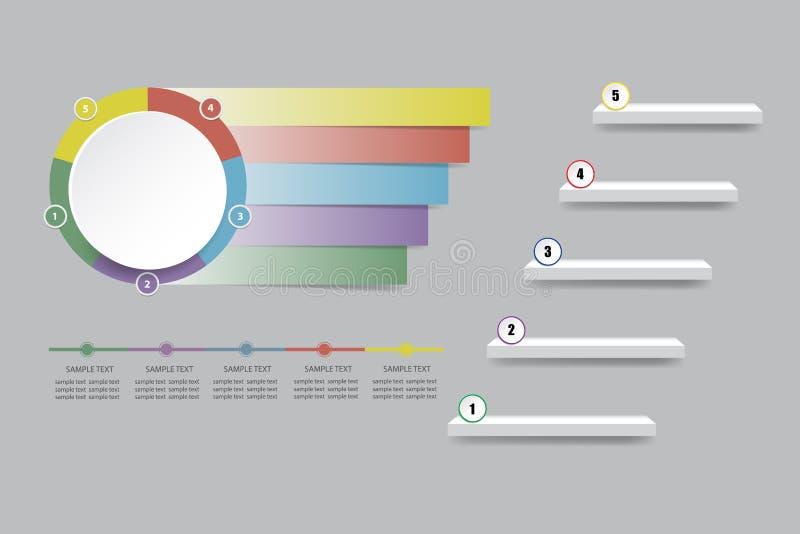 Lege infographic van witte cirkel met kleurenetiketten royalty-vrije illustratie