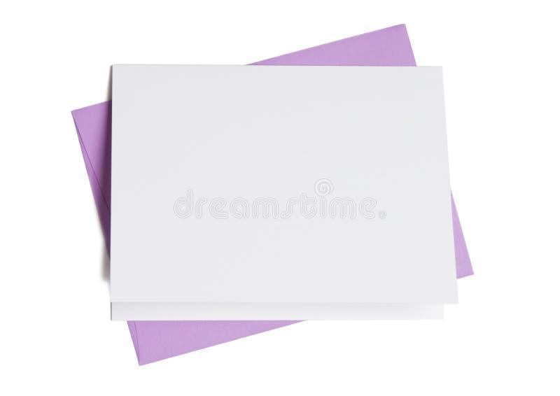 Lege Kaart met Envelop Lavendar stock afbeeldingen