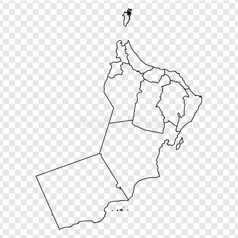 Lege kaart Oman Hoog - kwaliteitskaart van Oman met provincies op transparante achtergrond voor uw websiteontwerp, embleem, app,  vector illustratie