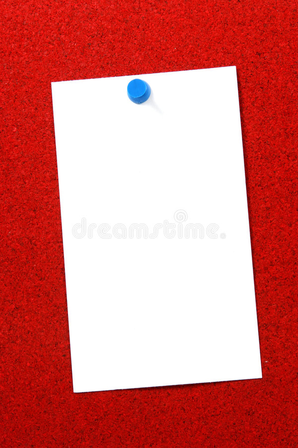 Lege kaart over rode cork verticaal stock fotografie