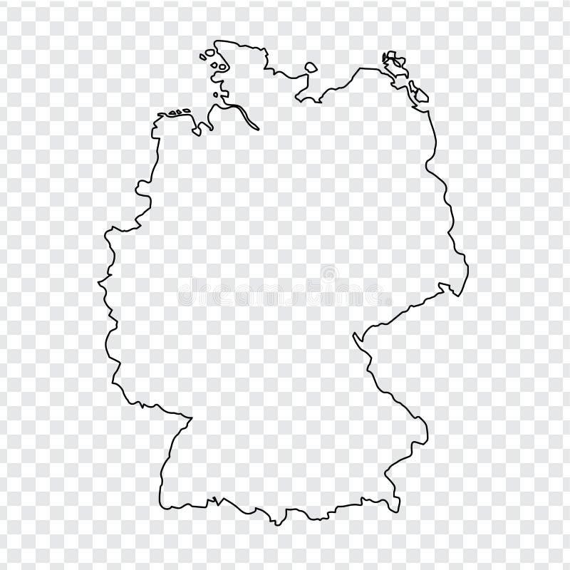 Lege Kaart van Duitsland De dunne kaart van lijnduitsland op een transparante achtergrond Voorraadvector Vlak Ontwerp vector illustratie