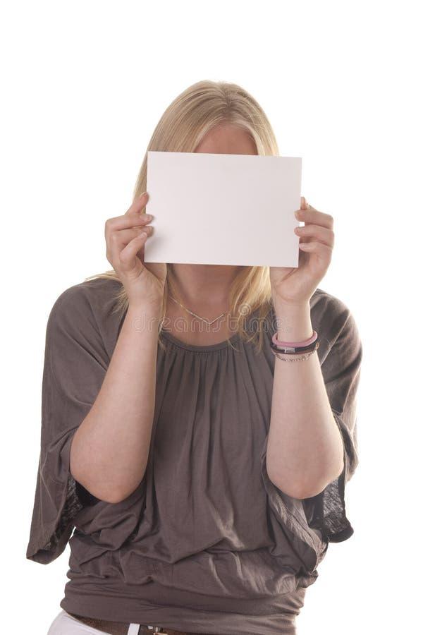 Lege kaart voor vrouwelijk gezicht stock afbeelding