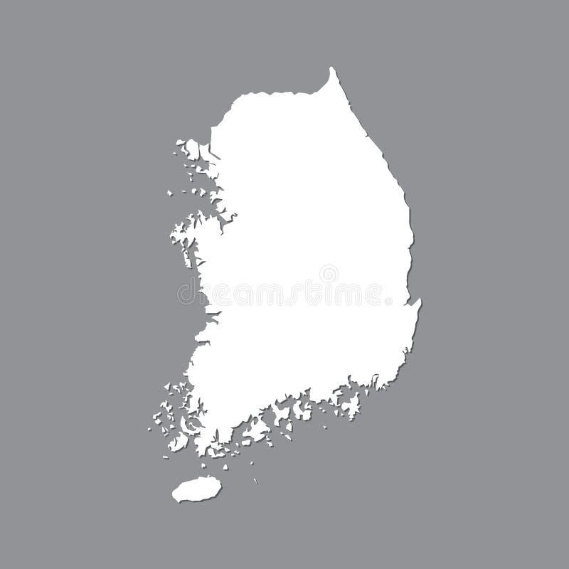 Lege kaart Zuid-Korea Hoog - kwaliteitskaart van Zuid-Korea op grijze achtergrond voor uw websiteontwerp, embleem, app, UI Voorra royalty-vrije illustratie
