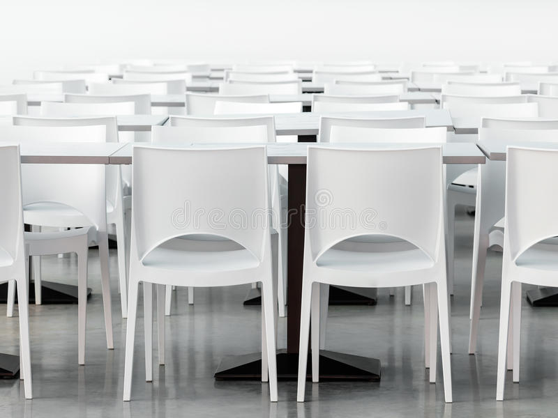 Lege kantine met moderne gestileerde witte stoelen stock for Witte moderne stoelen
