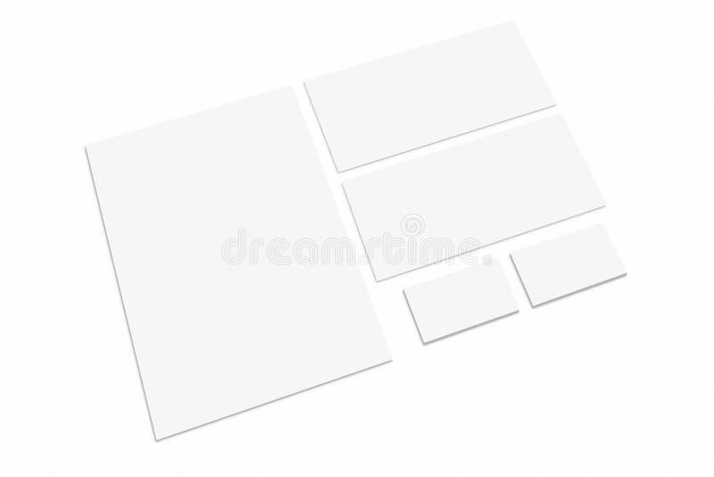 Lege kantoorbehoeften en collectieve die identiteit op witte achtergrond wordt geplaatst Brandmerkend model stock foto's