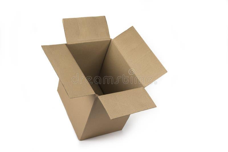 Lege kartonnen doos op een witte achtergrond royalty-vrije stock afbeeldingen