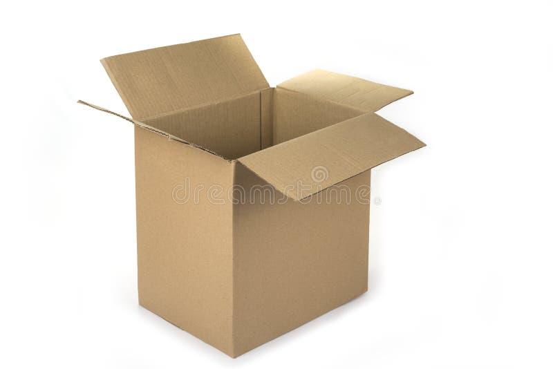 Lege kartonnen doos op een witte achtergrond stock foto