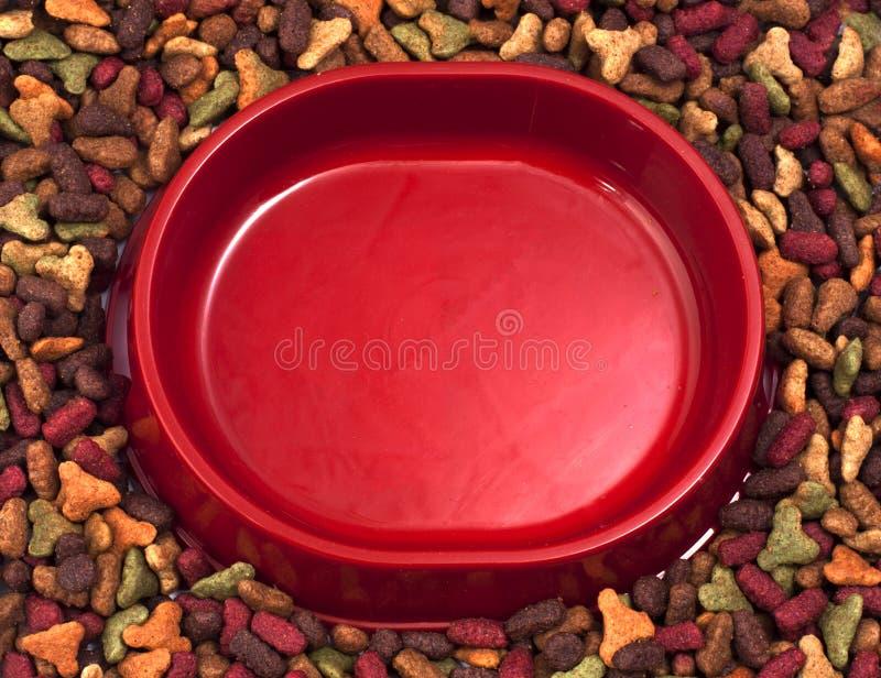 Lege katten of hondenkom op de achtergrond van droog voedsel voor huisdieren royalty-vrije stock afbeelding