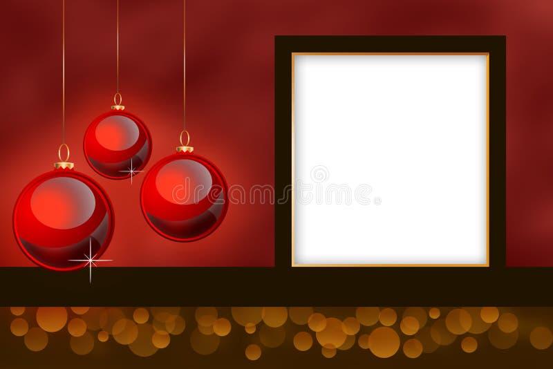 Lege Kerstmis themed fotoframe. royalty-vrije illustratie