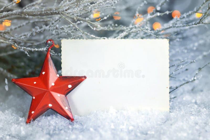 Lege Kerstmiskaart Het uitstekende kader van de Kerstmisfoto royalty-vrije stock afbeeldingen