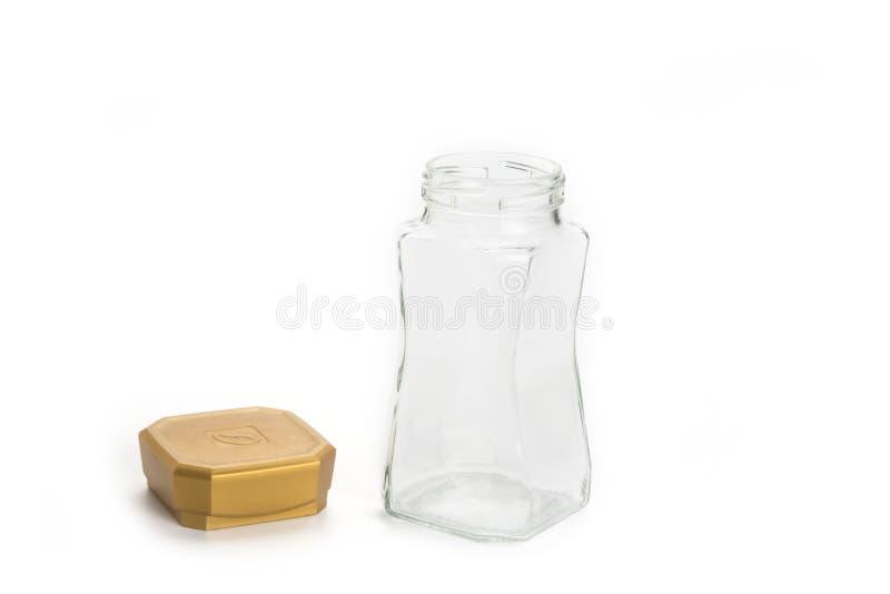 Lege keukenkruik met GLB op het wit stock fotografie