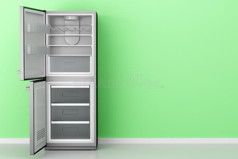 Lege koelkast voor groene muur vector illustratie