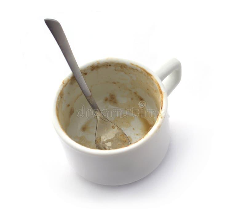 Lege koffiekop die op wit wordt geïsoleerdo royalty-vrije stock foto's