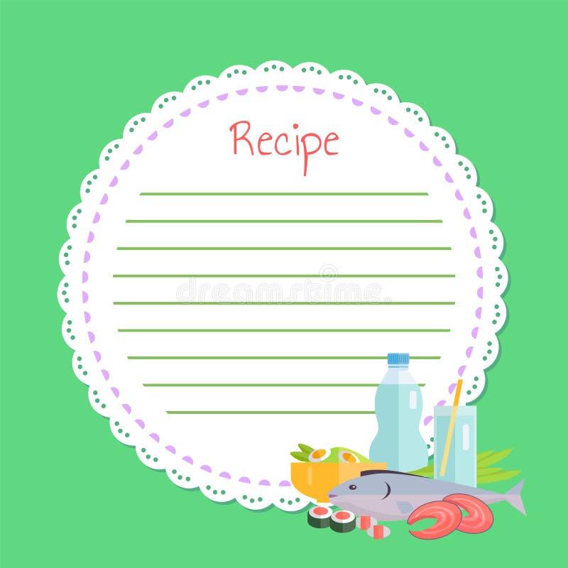 Lege Kookboek, Sushi en Vissen, het Voedselvector van Japan royalty-vrije illustratie