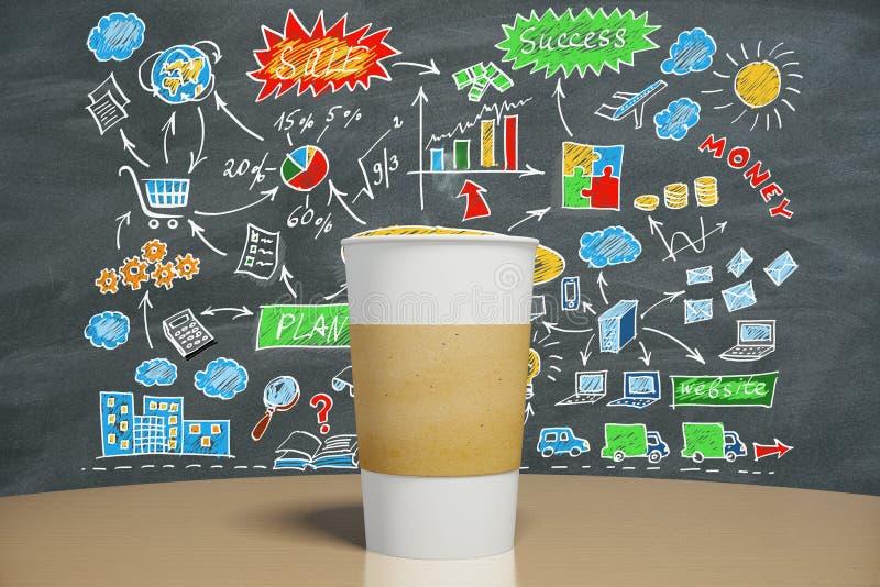 Lege kop van koffie op de lijst en bedrijfsstrategieconce stock fotografie