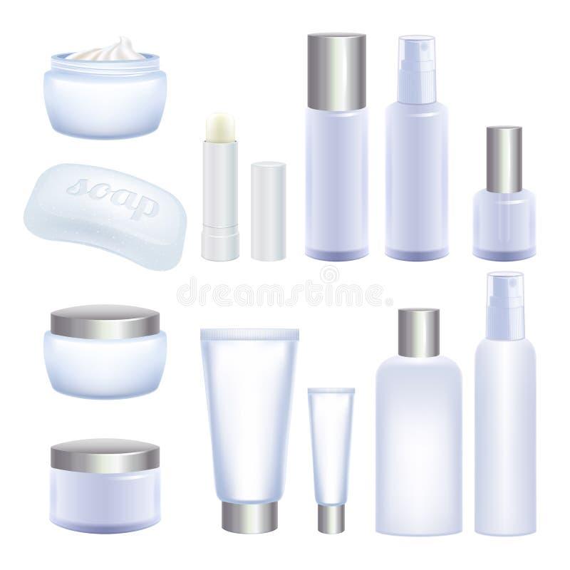 Lege kosmetische buizen en kruiken op witte achtergrond stock illustratie