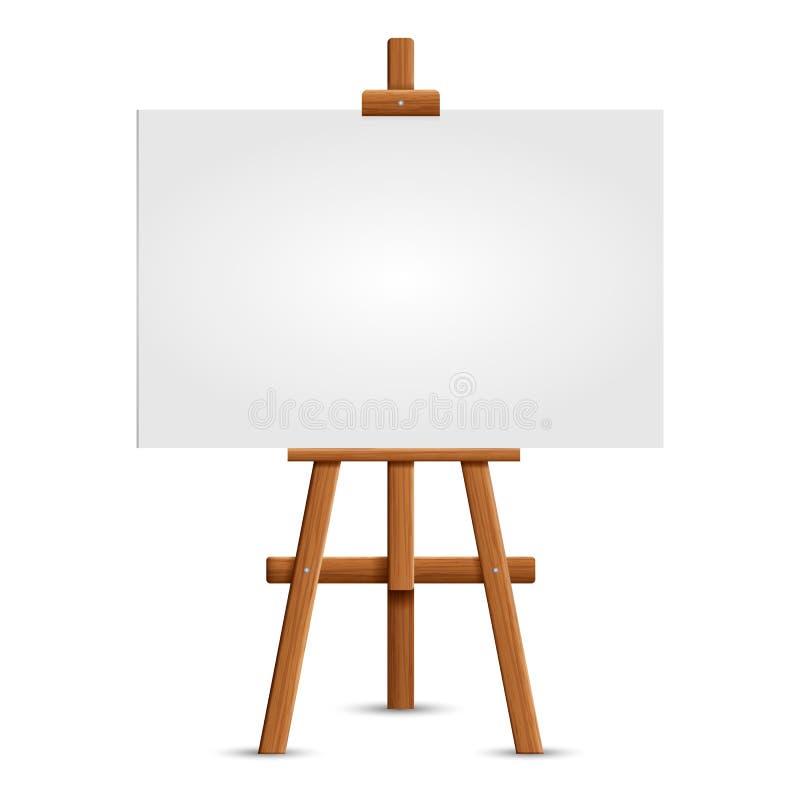 Lege kunstraad en realistische houten schildersezel Houten Bruine Schildersezel met Onecht omhoog Leeg Leeg Vierkant die Canvas o vector illustratie