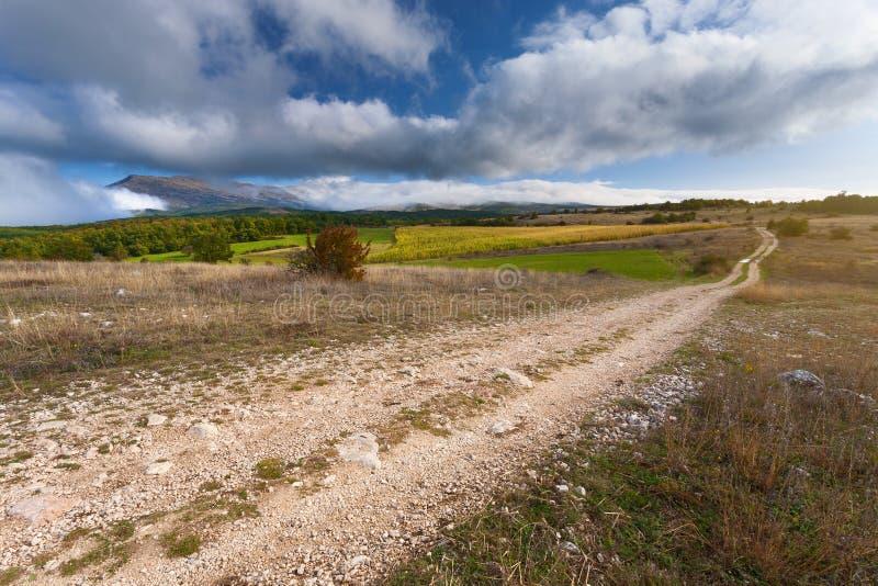 Lege landweg bij de herfst zonnige dag royalty-vrije stock foto's