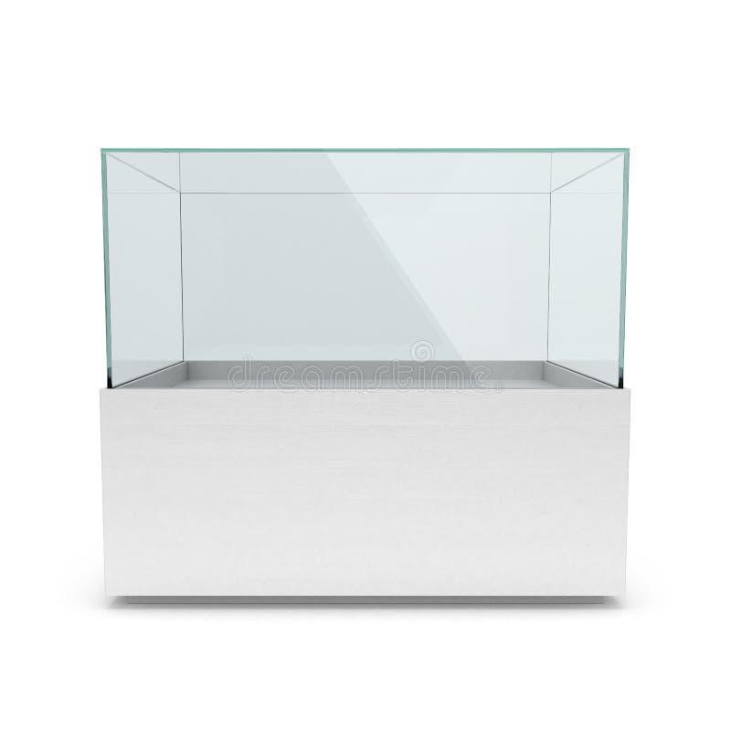 Lege lange witte showcase met voetstuk, stock illustratie
