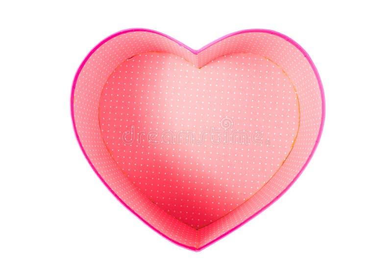 Lege (lege de giftdoos) van de hart (liefde) vorm binnen hoogste geïsoleerde mening royalty-vrije stock afbeelding