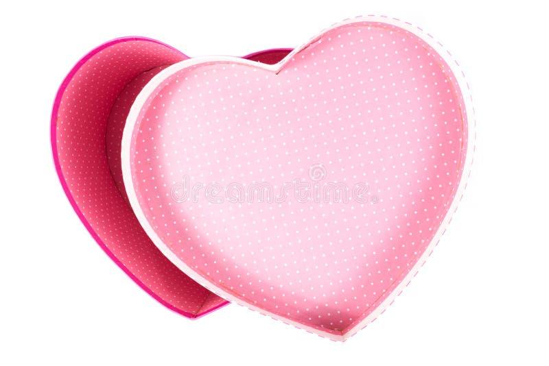 Lege (lege de giftdoos) van de hart (liefde) vorm binnen hoogste geïsoleerde mening stock fotografie
