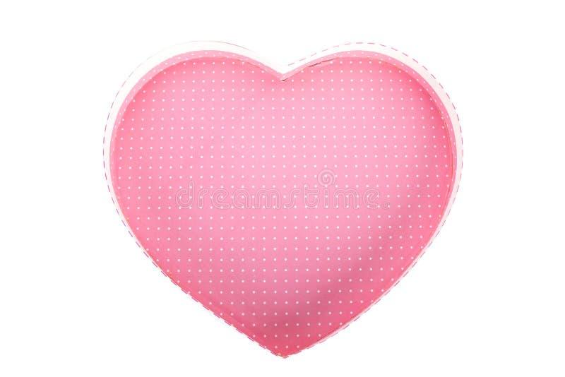 Lege (lege de giftdoos) van de hart (liefde) vorm binnen hoogste geïsoleerde mening royalty-vrije stock foto's