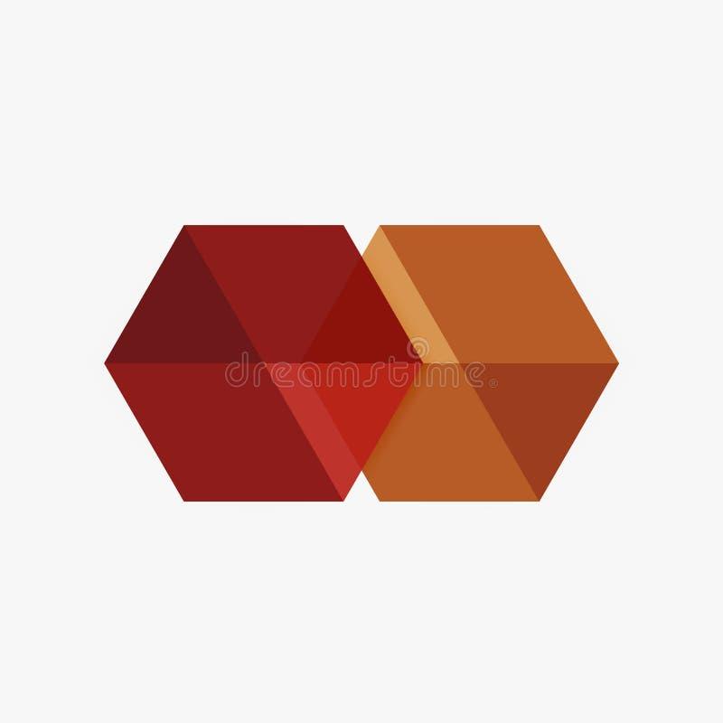 Lege lege hexagon lay-out, geometrisch malplaatje voor tekst en opties stock illustratie